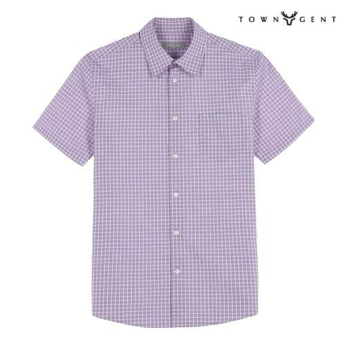 [★하프독점★]타운젠트 와인 면 체크 패턴 반팔 셔츠