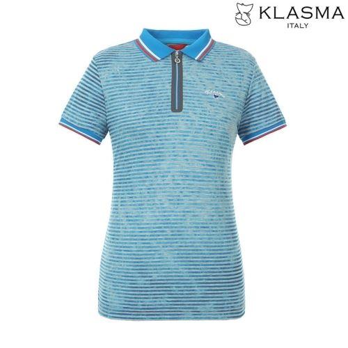 [50%쿠폰][KLASMA]여성 스트라이프 카라 반집업 반팔 티셔츠(K72ATSW770-BL)