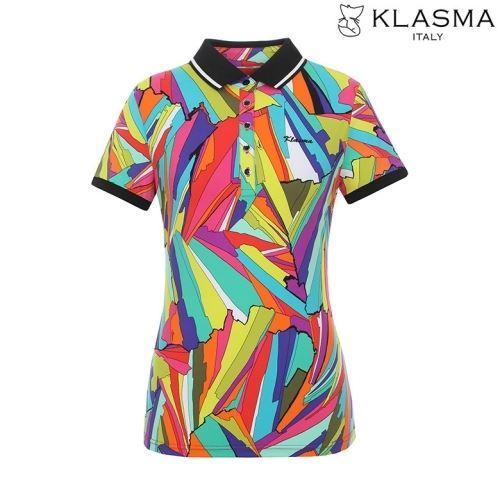 [50%쿠폰][KLASMA]여성 패턴 포인트 카라 배색 반팔 티셔츠(K62ATSW720-GR)