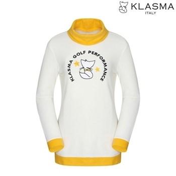 [최종세일][KLASMA]여성 배색 자수 하이넥 티셔츠(K64ATSW270-IV)